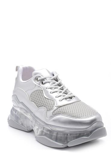Gümüş Kadın Şeffaf Tabanlı Sneaker 5638121125
