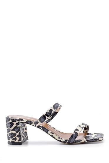 Bej Kadın Deri Leopar Desenli Topuklu Terlik 5638176122