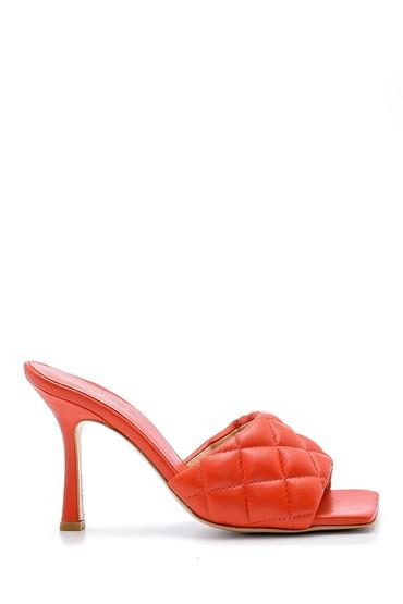 Kırmızı Kadın Deri Topuklu Terlik 5638163595