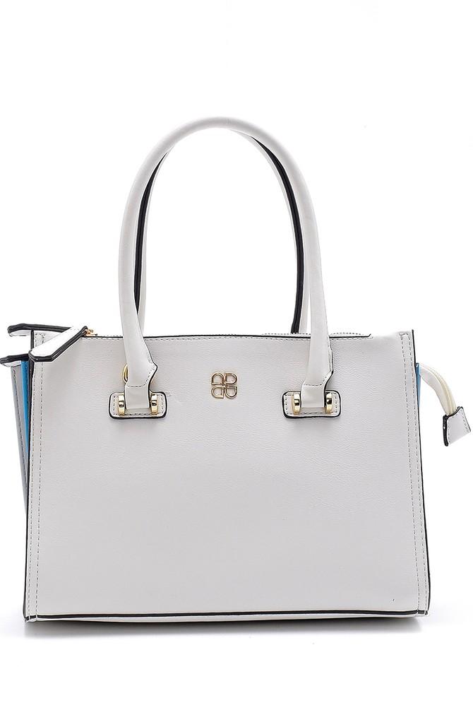 Beyaz Kadın Renk Detaylı Casual Kol Çantası 5638146660