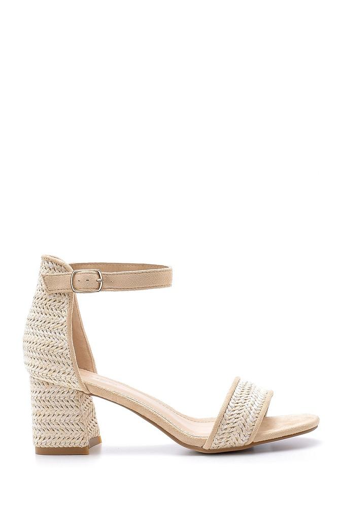 Bej Kadın Hasır Görünümlü Topuklu Sandalet 5638135786