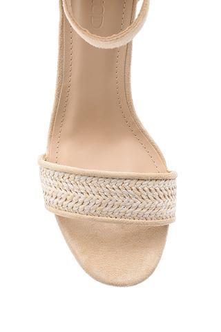 Kadın Hasır Görünümlü Topuklu Sandalet