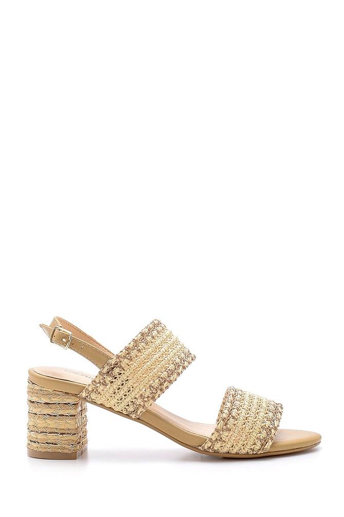 Renksiz Kadın Hasır Topuklu Sandalet 5638136107