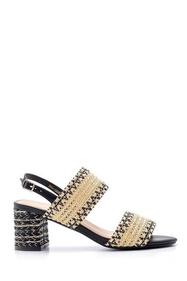 Siyah Kadın Hasır Topuklu Sandalet 5638136098