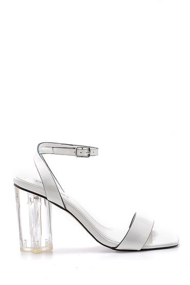 Beyaz Kadın Şeffaf Topuklu Sandalet 5638136184