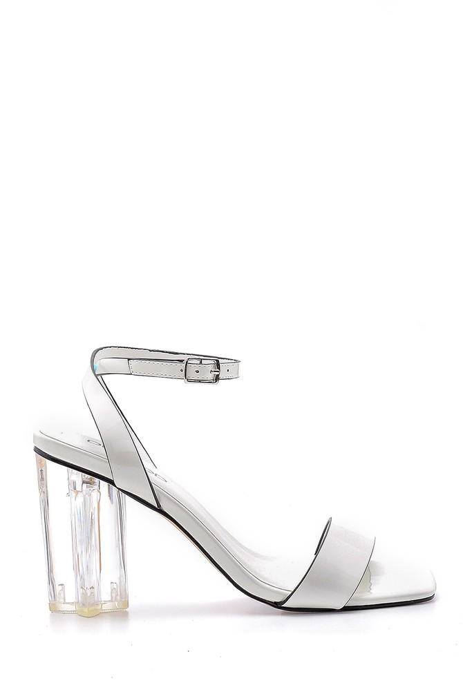 Beyaz Kadın Şeffaf Topuklu Sandalet 5638136192