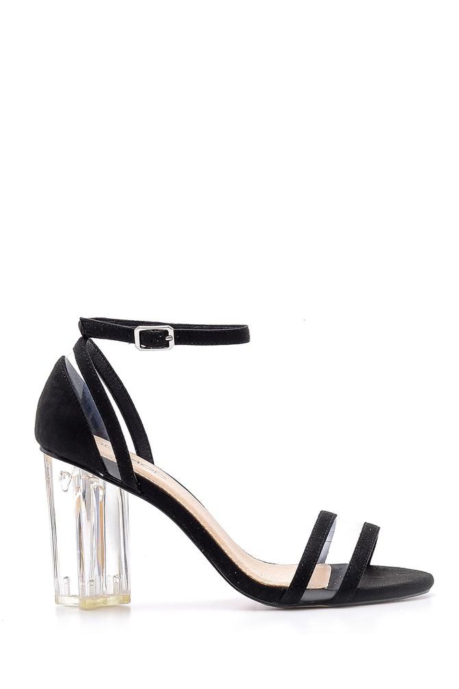 Siyah Kadın Şeffaf Topuklu Sandalet 5638136236