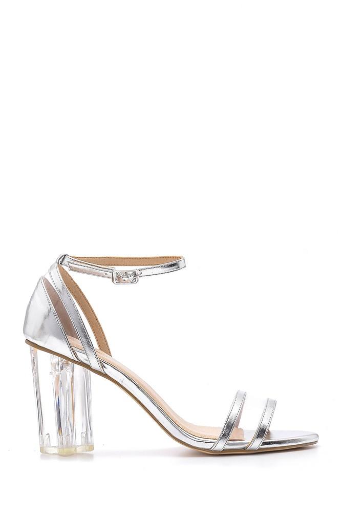 Gümüş Kadın Şeffaf Topuklu Sandalet 5638136222