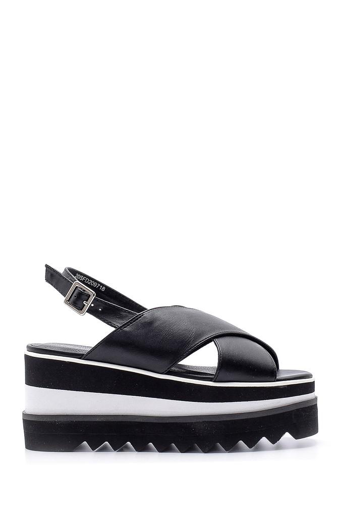 Siyah Kadın Dolgu Topuk Sandalet 5638136297