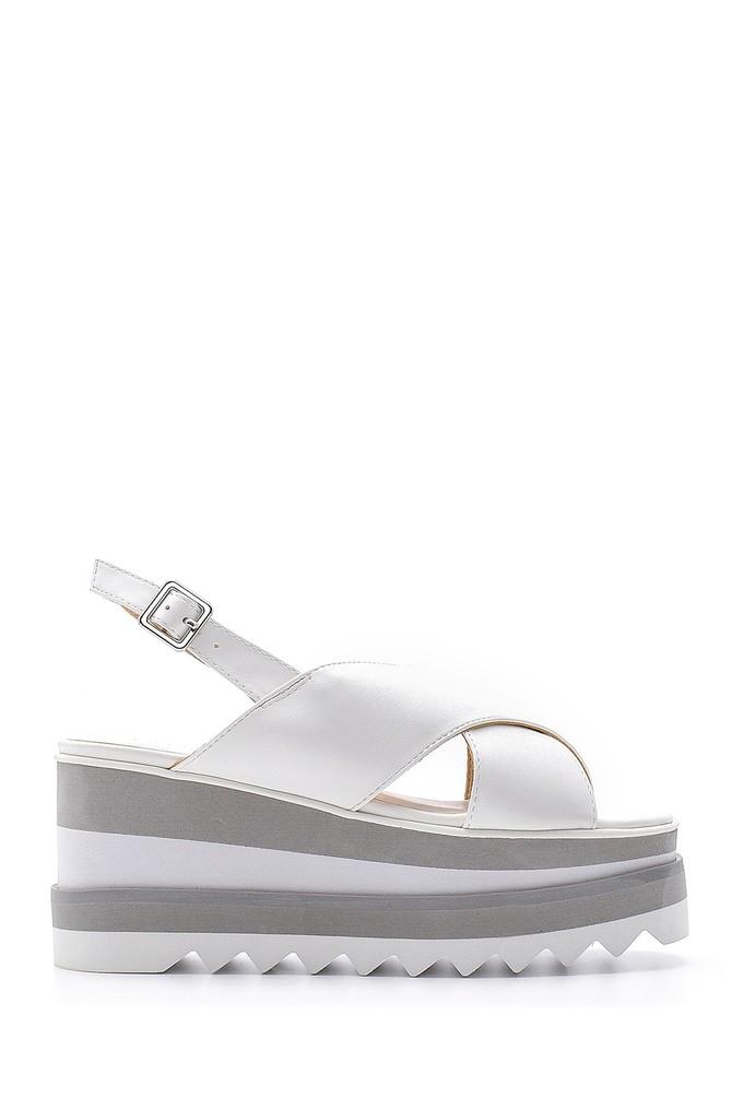 Beyaz Kadın Dolgu Topuk Sandalet 5638136302