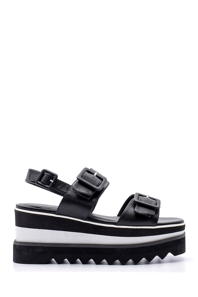 Siyah Kadın Dolgu Topuk Sandalet 5638136364