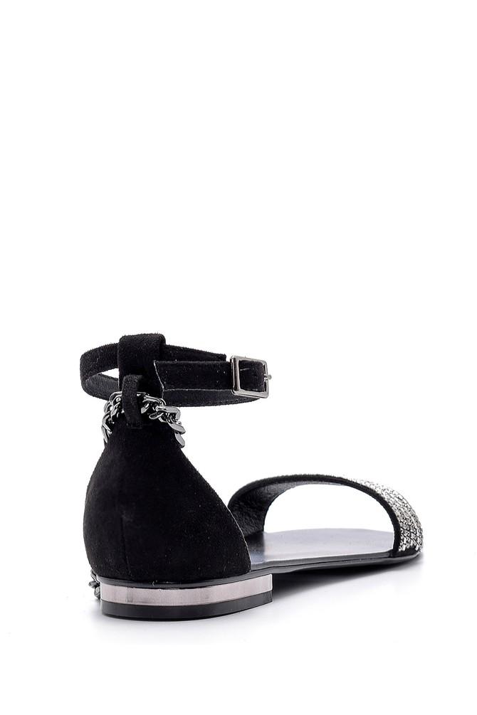 5638125539 Kadın Deri Aksesuar Detaylı Sandalet