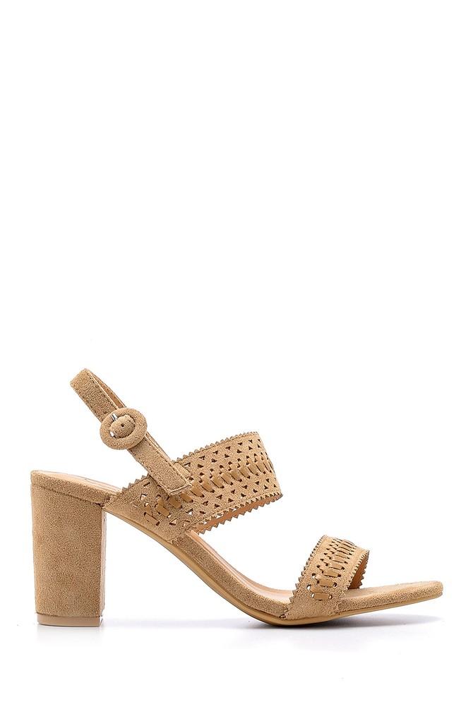 Bej Kadın Süet Topuklu Sandalet 5638138229