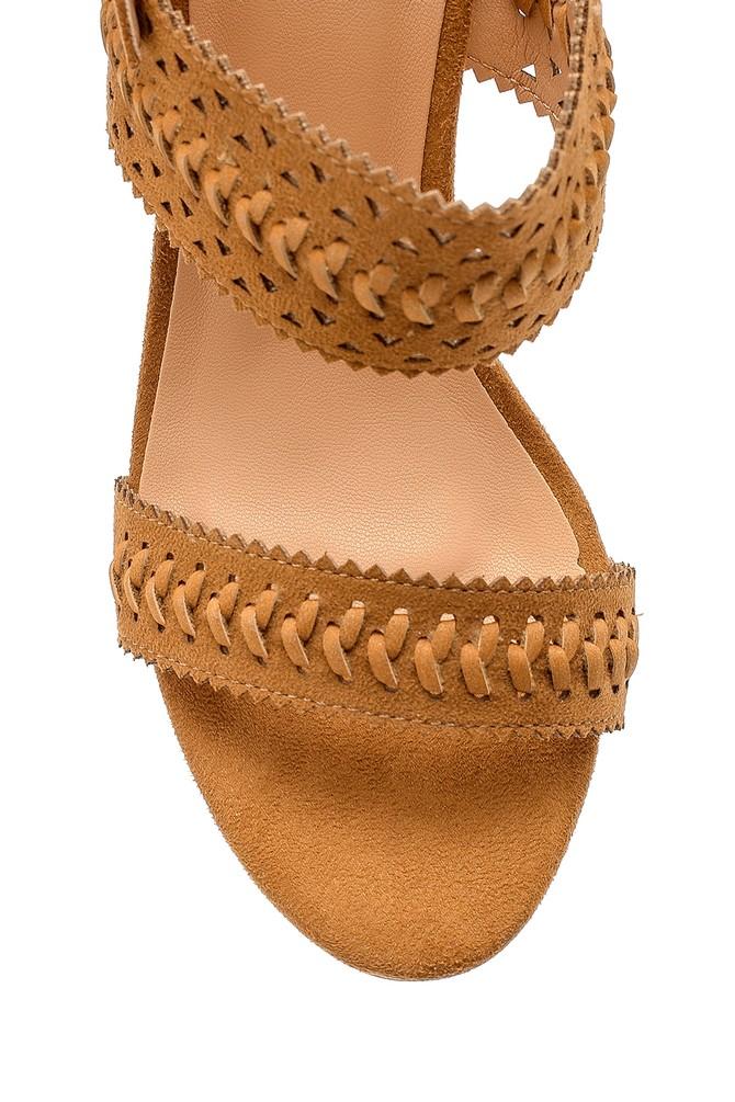 5638138228 Kadın Süet Topuklu Sandalet