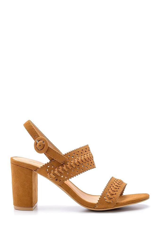 Kahverengi Kadın Süet Topuklu Sandalet 5638138228