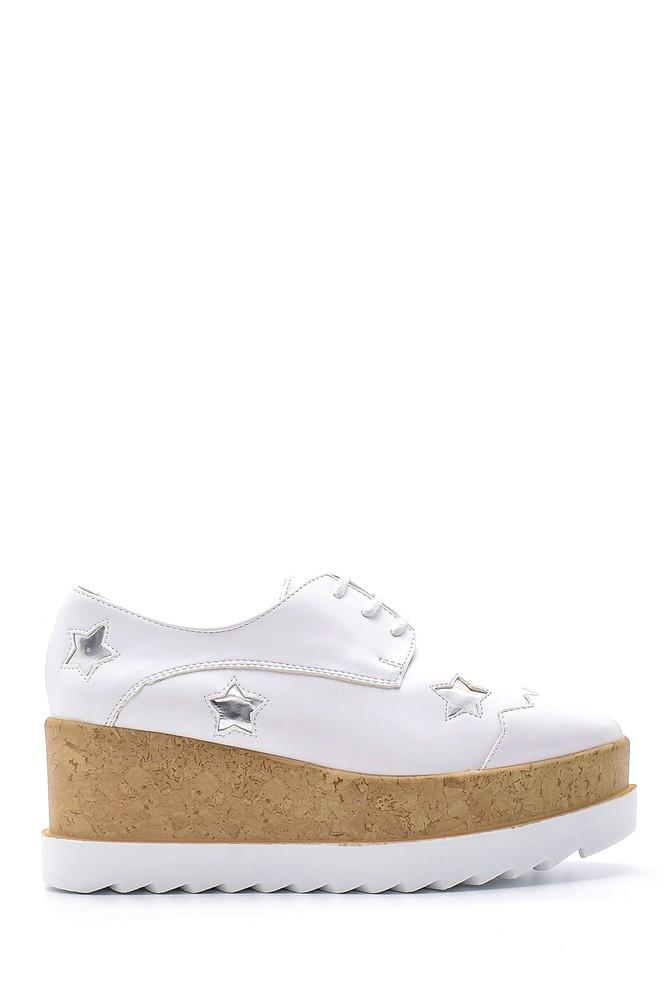 Beyaz Kadın Yüksek Tabanlı Ayakkabı 5638123357