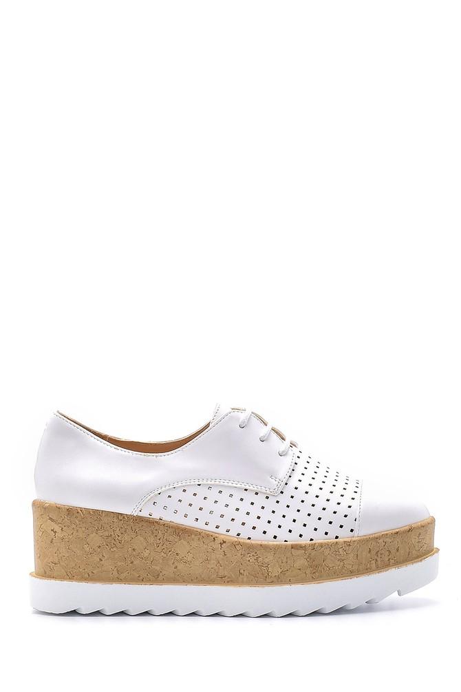 Beyaz Kadın Yüksek Tabanlı Ayakkabı 5638123364