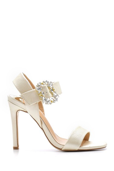 Bej Kadın Toka Detaylı Topuklu Sandalet 5638133070