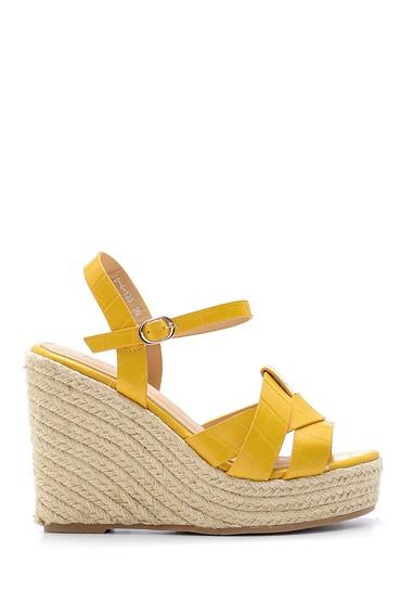 Sarı Kadın Dolgu Topuklu Sandalet 5638137593