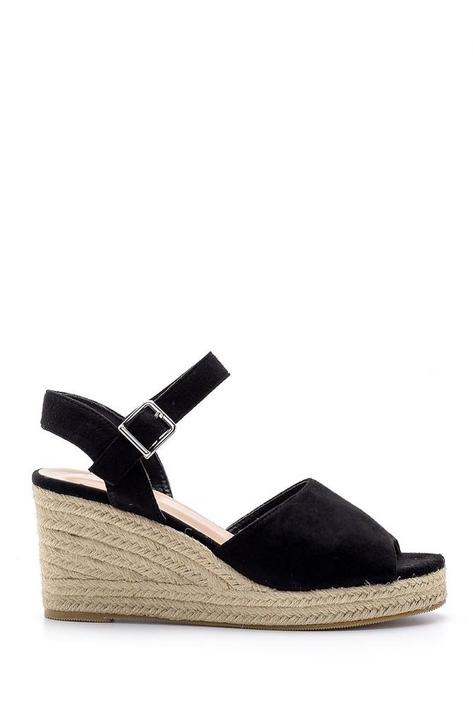 Siyah Kadın Dolgu Topuklu Sandalet 5638136027