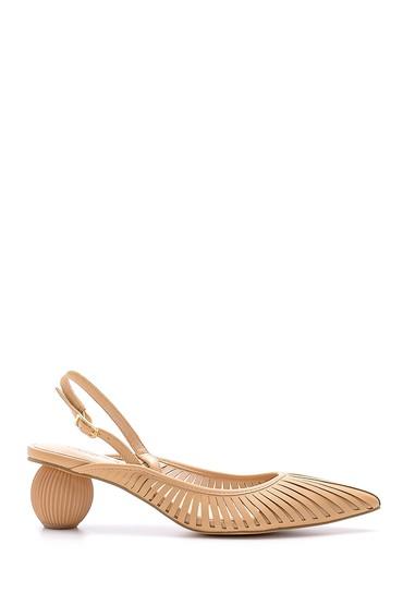 Bej Kadın Topuk Detaylı Ayakkabı 5638136042