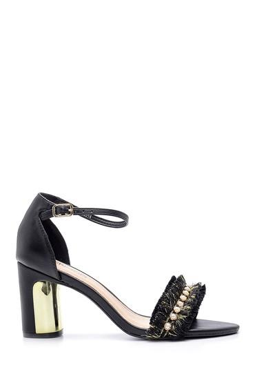 Siyah Kadın Topuklu Sandalet 5638125673