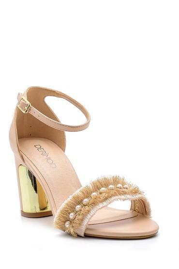 Bej Kadın Topuklu Sandalet 5638125672