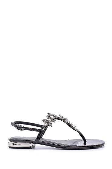 Siyah Kadın Taşlı Sandalet 5638135708