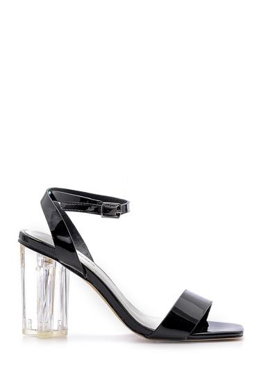Siyah Kadın Şeffaf Topuklu Sandalet 5638136183