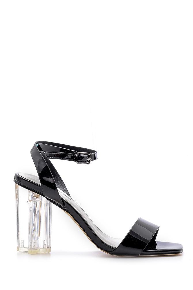 Siyah Kadın Şeffaf Topuklu Sandalet 5638136198
