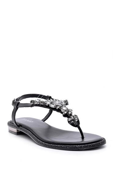 Siyah Kadın Taşlı Sandalet 5638125512