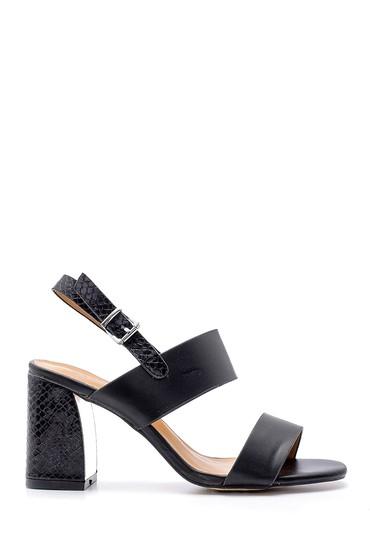Siyah Kadın Topuk Detaylı Sandalet 5638126453