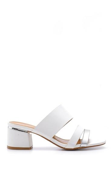 Beyaz Kadın Topuklu Terlik 5638126290