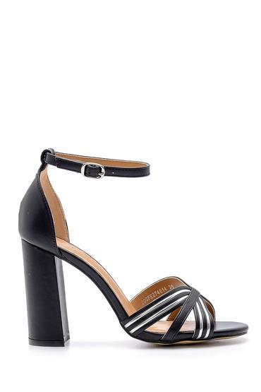 Siyah Kadın Kalın Topuklu Sandalet 5638133050