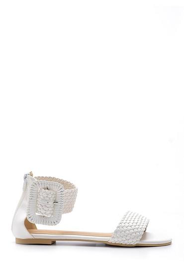 Beyaz Kadın Toka Detaylı Sandalet 5638137515