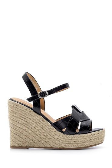 Siyah Kadın Dolgu Topuklu Sandalet 5638137597