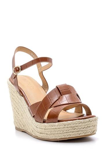 Kahverengi Kadın Dolgu Topuklu Sandalet 5638137595