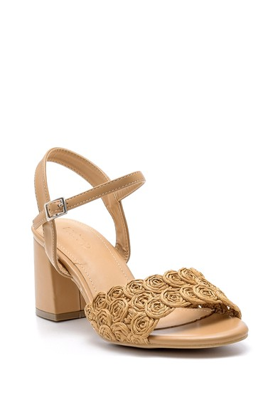 Kahverengi Kadın Kalın Topuklu Sandalet 5638166279