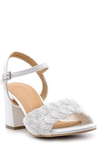 Beyaz Kadın Kalın Topuklu Sandalet 5638166538