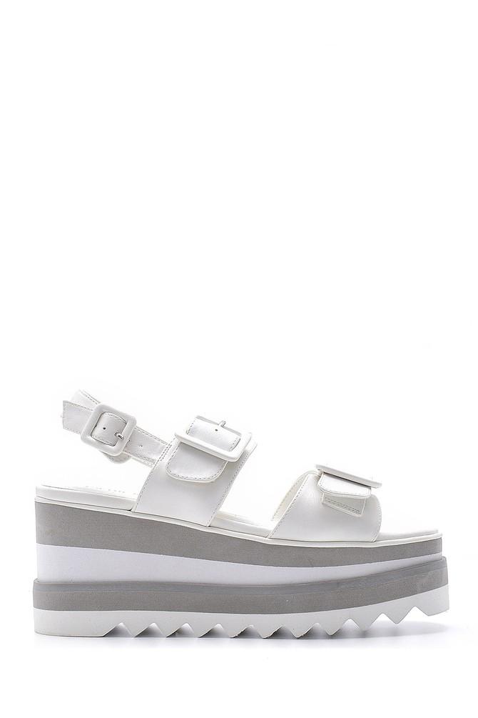 Beyaz Kadın Dolgu Topuk Sandalet 5638136365