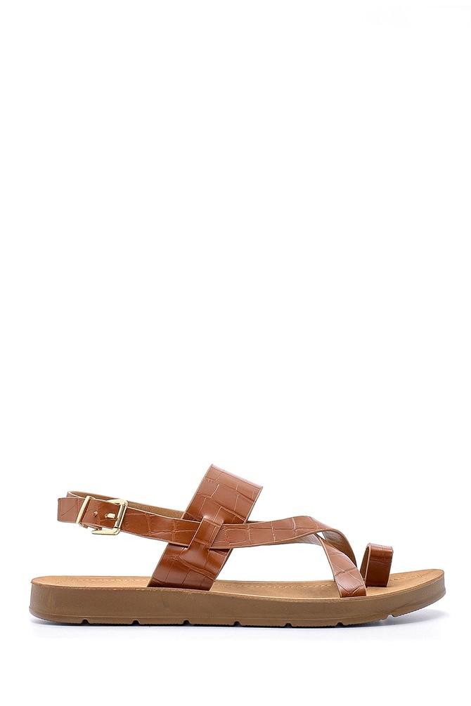 Kahverengi Kadın Kroko Desenli Sandalet 5638132418