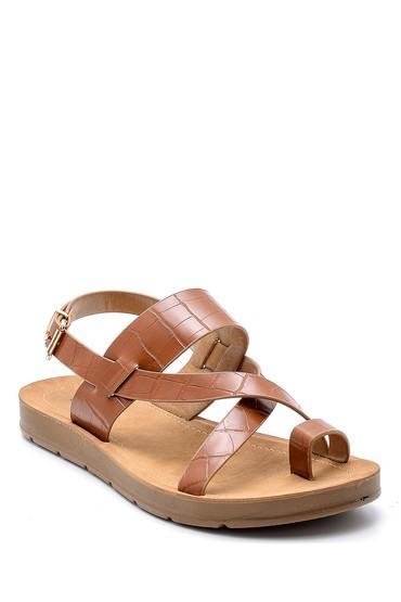 Kahverengi Kadın Kroko Desenli Sandalet 5638132406