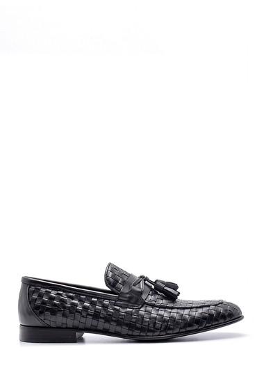 Siyah Erkek Deri Örgü Desen Loafer 5638162802