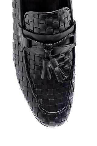 Erkek Deri Örgü Desen Loafer