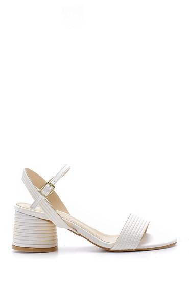 Beyaz Kadın Topuklu Sandalet 5638155549