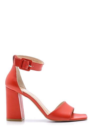Kırmızı Kadın Deri Topuklu Sandalet 5638162416