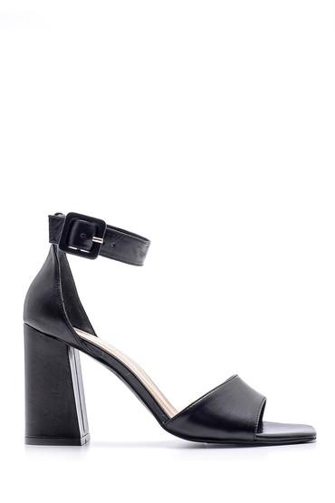 Siyah Kadın Deri Topuklu Sandalet 5638162418