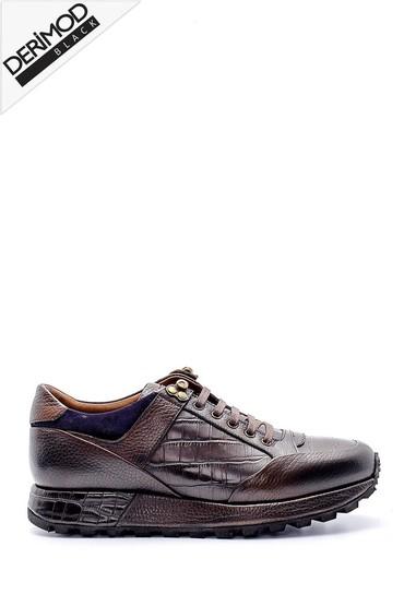 Kahverengi Erkek Kroko Detaylı Deri Sneaker 5638169341