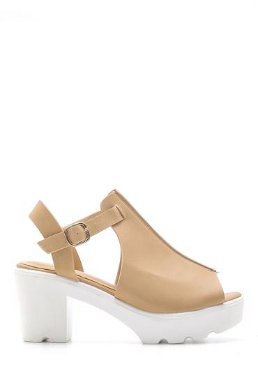 Bej Kadın Kalın Topuklu Sandalet 5638128769