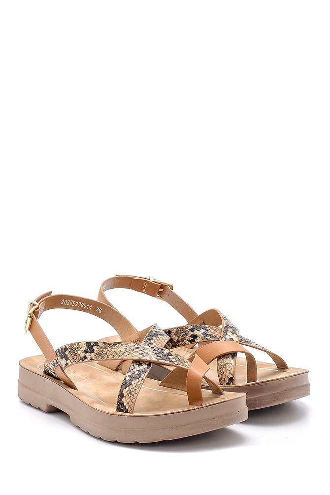 5638132490 Kadın Yılan Derisi Desenli Sandalet